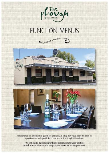 The Plough at Trentham Function Menus