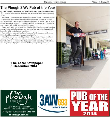 The Plough Trentham 3AW Pub of the Year 2014